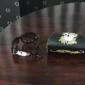 Ed Hardy Crystal Skull Flower Sunglasses and Case